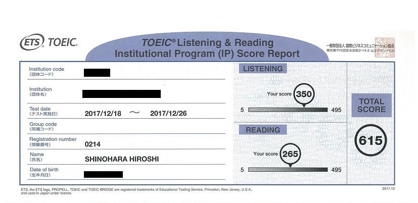 TOEIC Test Score Report 1