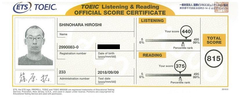 TOEIC Test Score Report 2